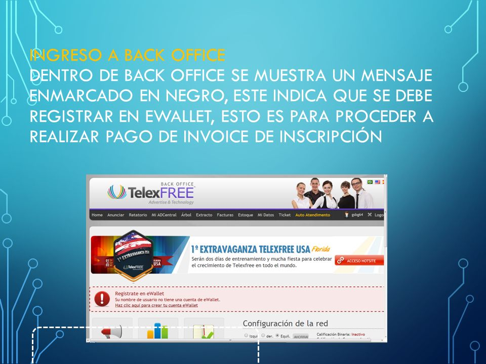 INGRESO A BACK OFFICE Dentro de Back Office se muestra un mensaje enmarcado en negro, este indica que se debe registrar en eWallet, esto es para proceder a realizar pago de invoice de inscripción