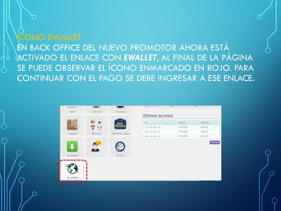 ICONO EWALLET En Back Office del nuevo promotor ahora está activado el enlace con eWallet, al final de la página se puede observar el ícono enmarcado en rojo.