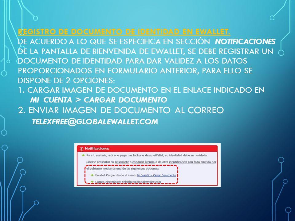 Registro de documento de identidad en eWallet