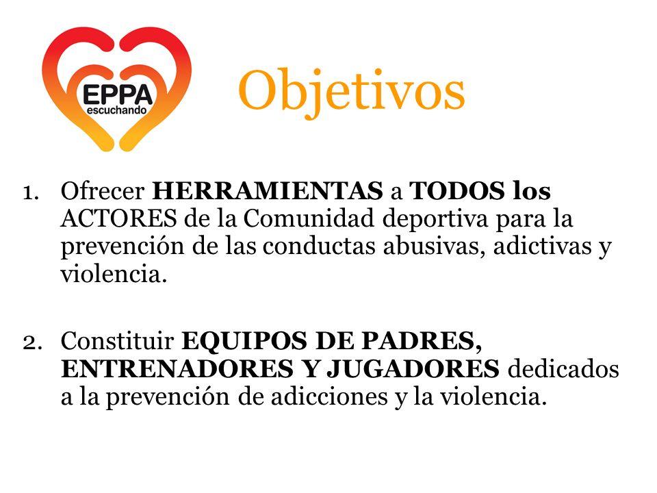 Objetivos Ofrecer HERRAMIENTAS a TODOS los ACTORES de la Comunidad deportiva para la prevención de las conductas abusivas, adictivas y violencia.