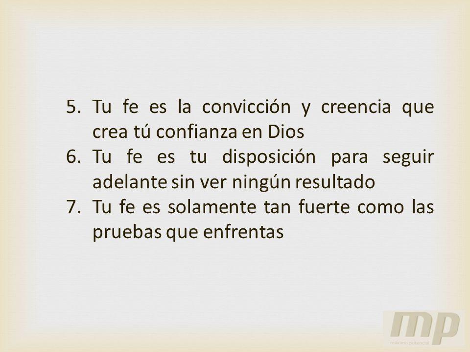 Tu fe es la convicción y creencia que crea tú confianza en Dios