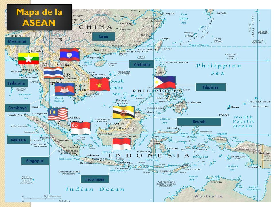 Mapa de la ASEAN Laos Myanmar Vietnam Tailandia Filipinas Camboya