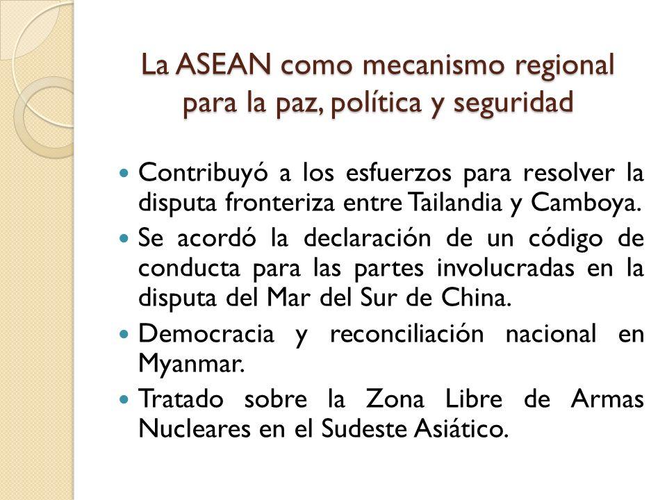 La ASEAN como mecanismo regional para la paz, política y seguridad
