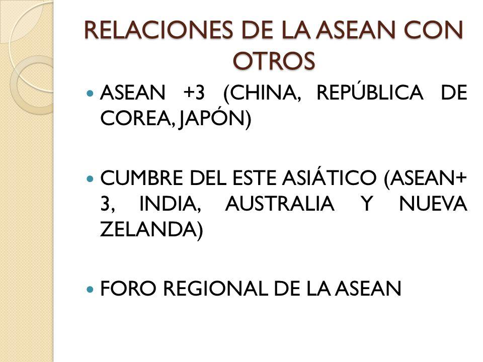 RELACIONES DE LA ASEAN CON OTROS