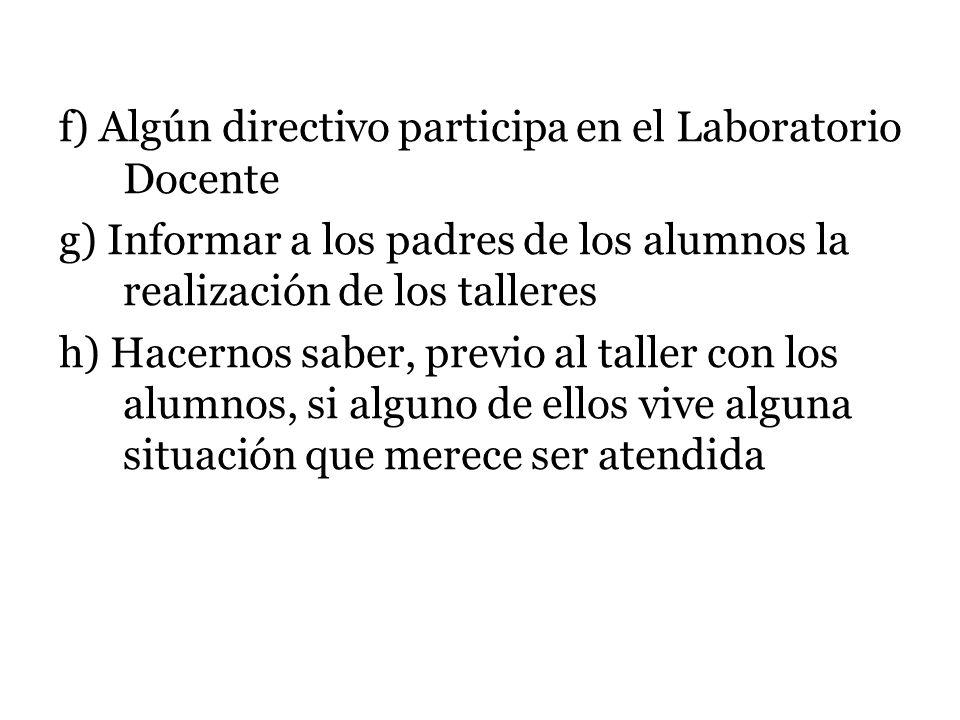 f) Algún directivo participa en el Laboratorio Docente