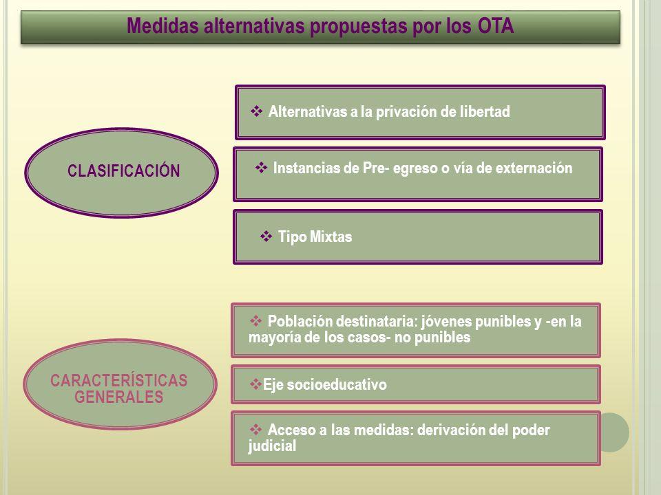 Medidas alternativas propuestas por los OTA CARACTERÍSTICAS GENERALES
