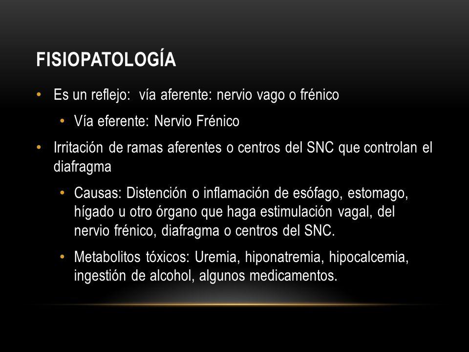 fisiopatología Es un reflejo: vía aferente: nervio vago o frénico