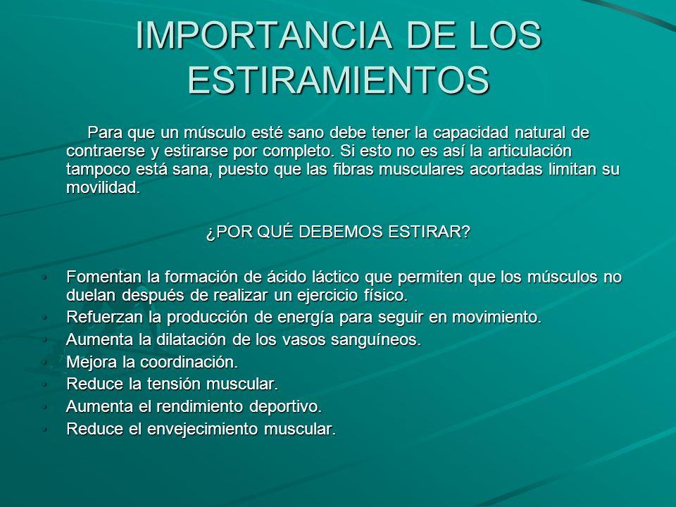 IMPORTANCIA DE LOS ESTIRAMIENTOS