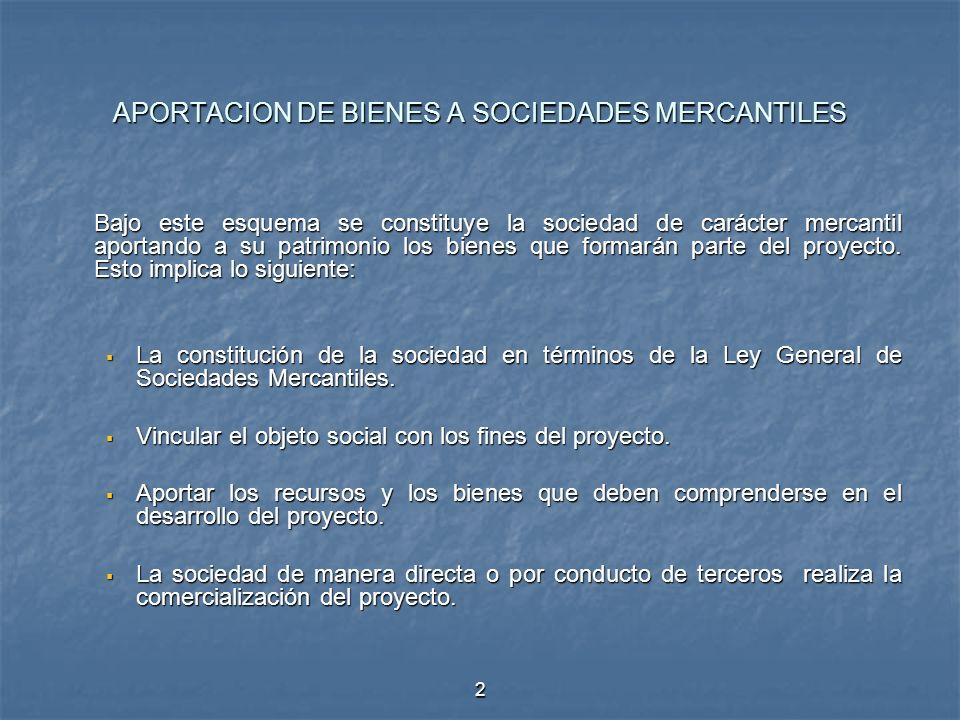 APORTACION DE BIENES A SOCIEDADES MERCANTILES