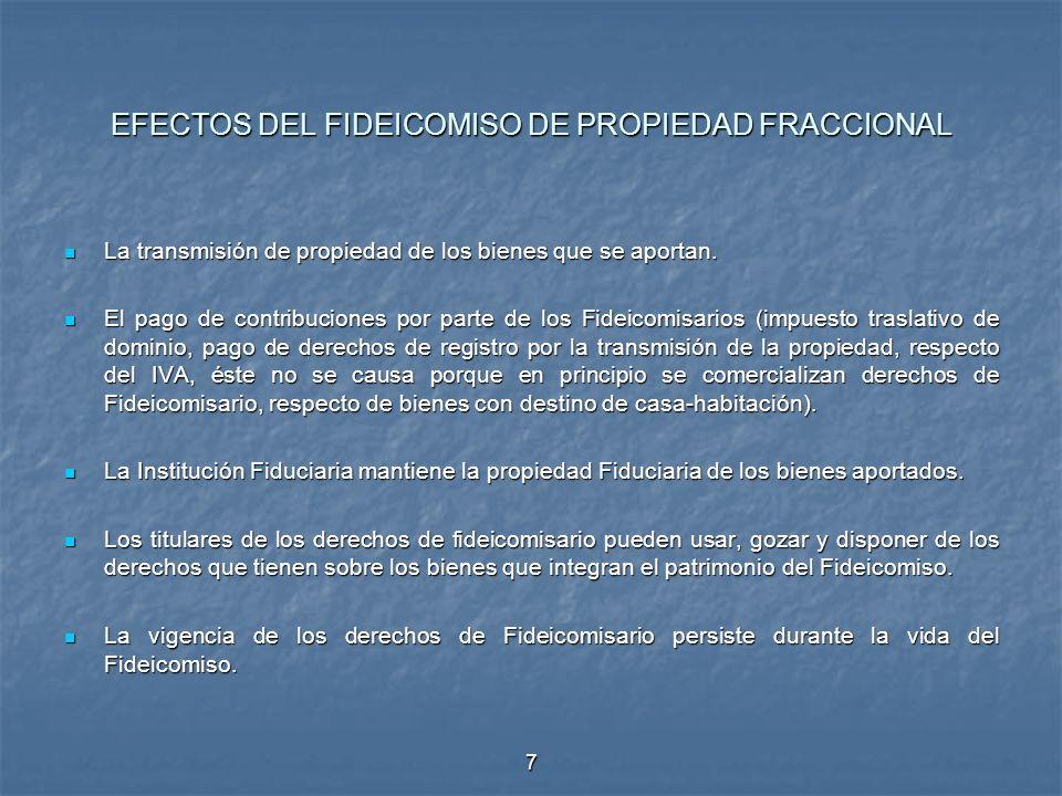 EFECTOS DEL FIDEICOMISO DE PROPIEDAD FRACCIONAL