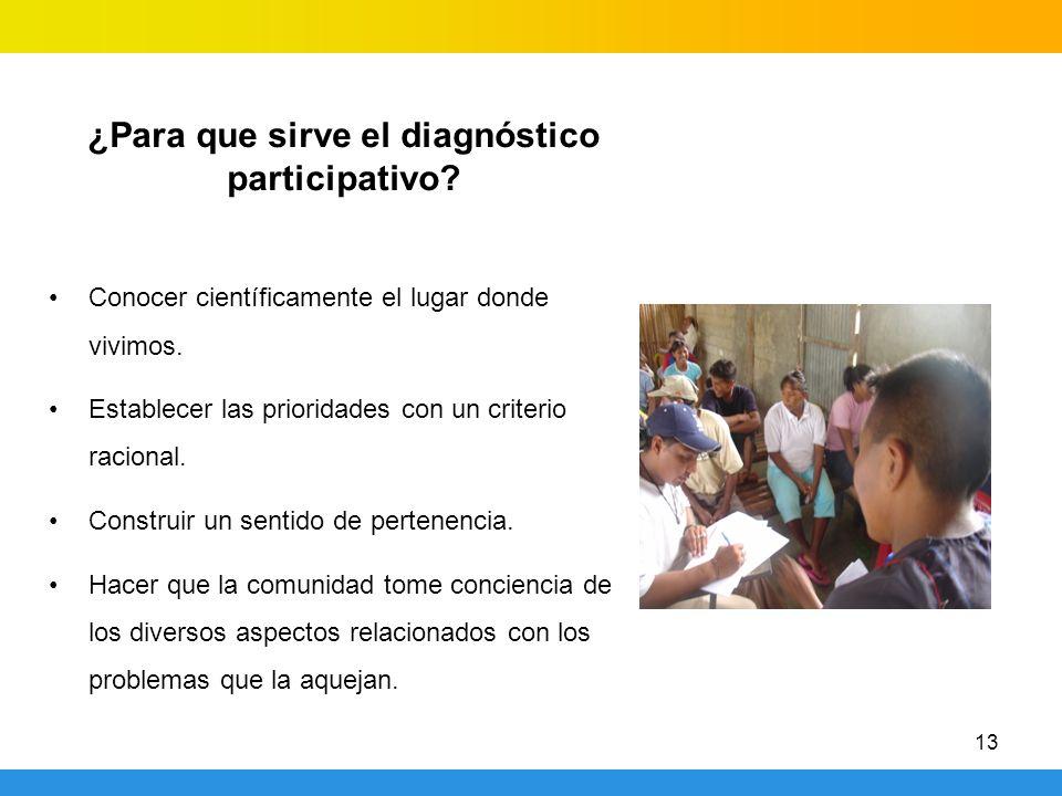 ¿Para que sirve el diagnóstico participativo