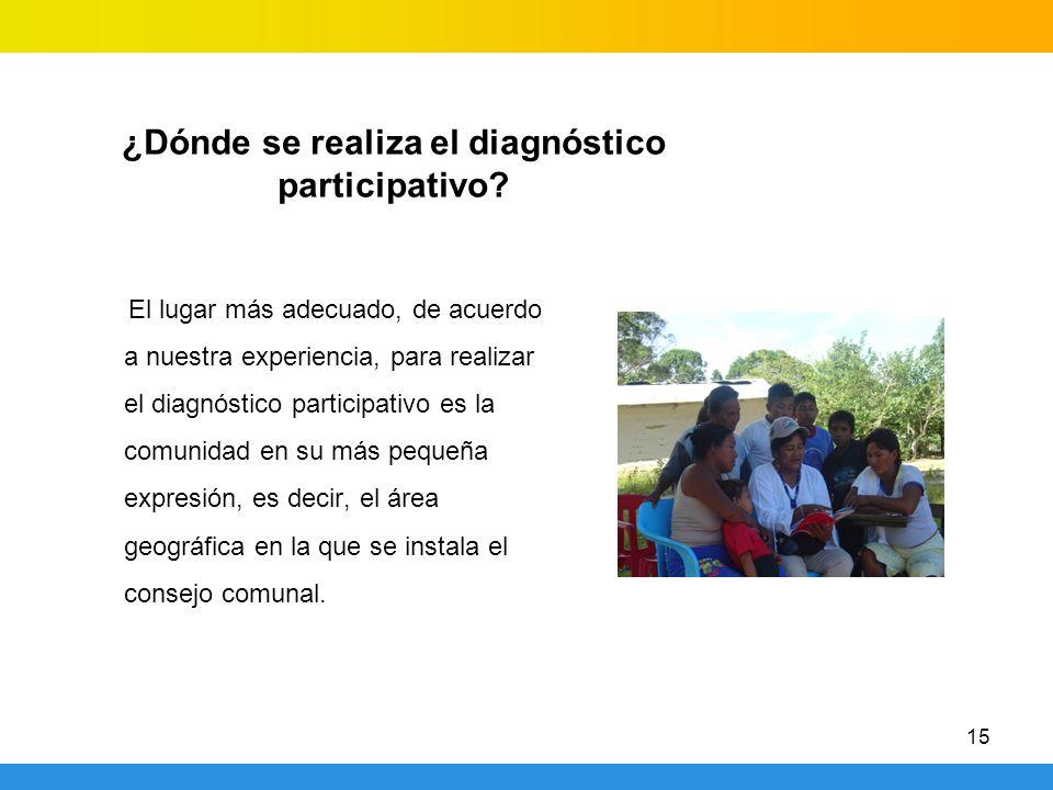 ¿Dónde se realiza el diagnóstico participativo