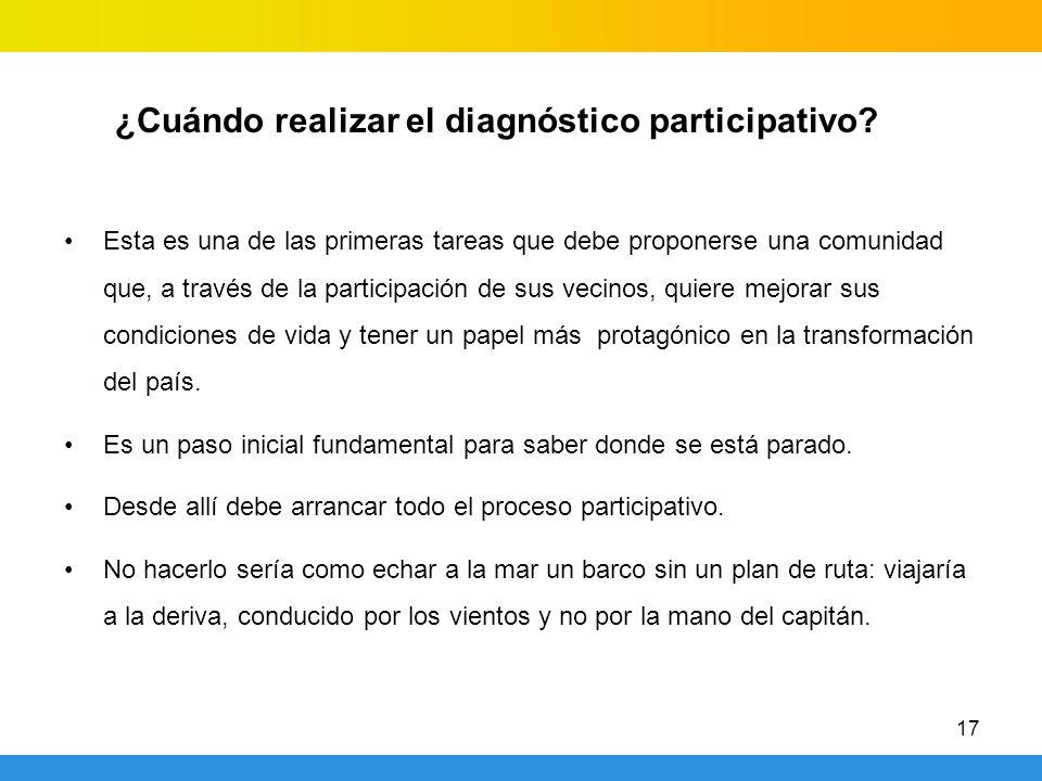 ¿Cuándo realizar el diagnóstico participativo