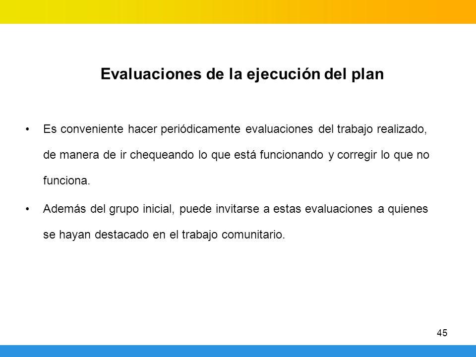 Evaluaciones de la ejecución del plan