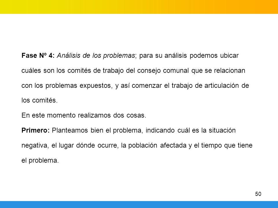 Fase Nº 4: Análisis de los problemas; para su análisis podemos ubicar cuáles son los comités de trabajo del consejo comunal que se relacionan con los problemas expuestos, y así comenzar el trabajo de articulación de los comités.