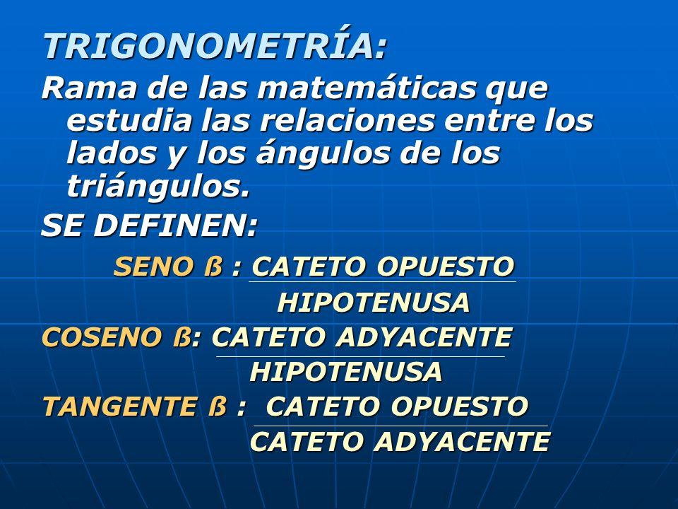 TRIGONOMETRÍA: Rama de las matemáticas que estudia las relaciones entre los lados y los ángulos de los triángulos.