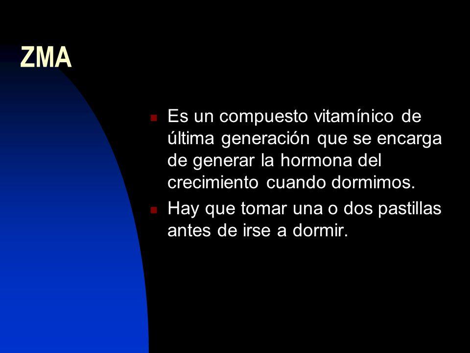 ZMA Es un compuesto vitamínico de última generación que se encarga de generar la hormona del crecimiento cuando dormimos.