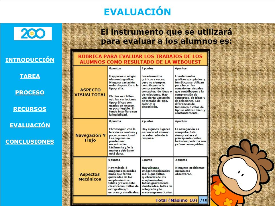 El instrumento que se utilizará para evaluar a los alumnos es: