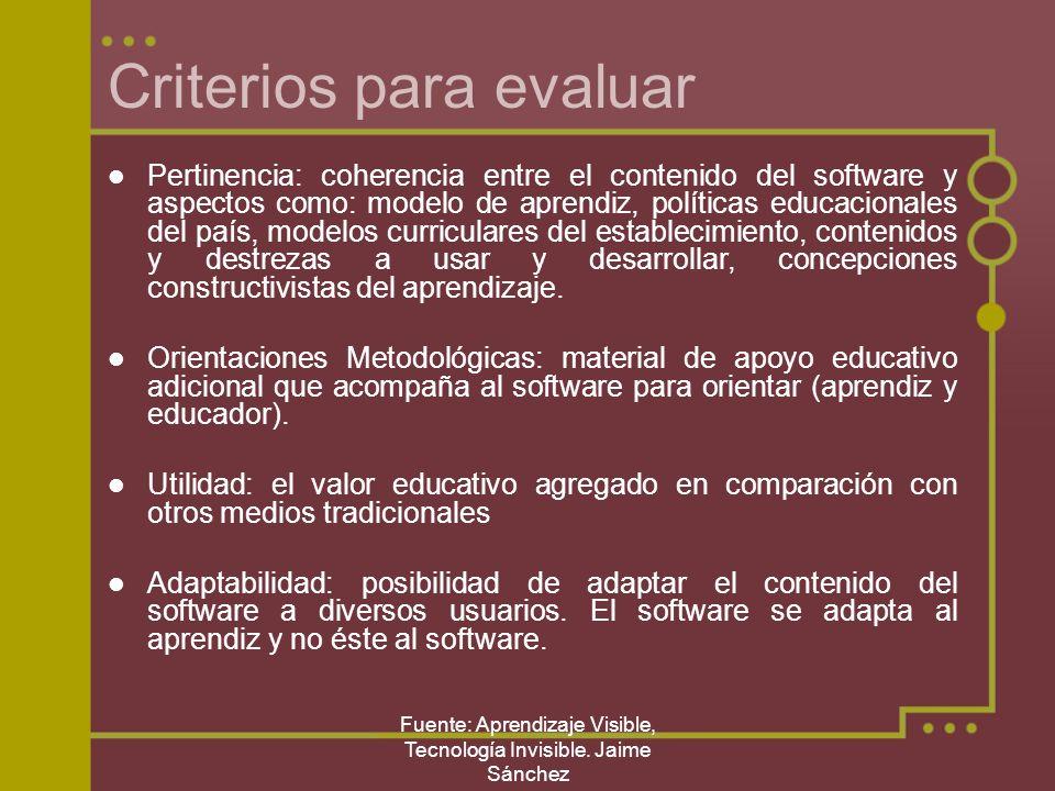 Criterios para evaluar