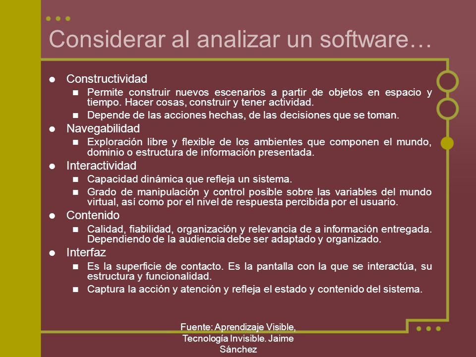 Considerar al analizar un software…