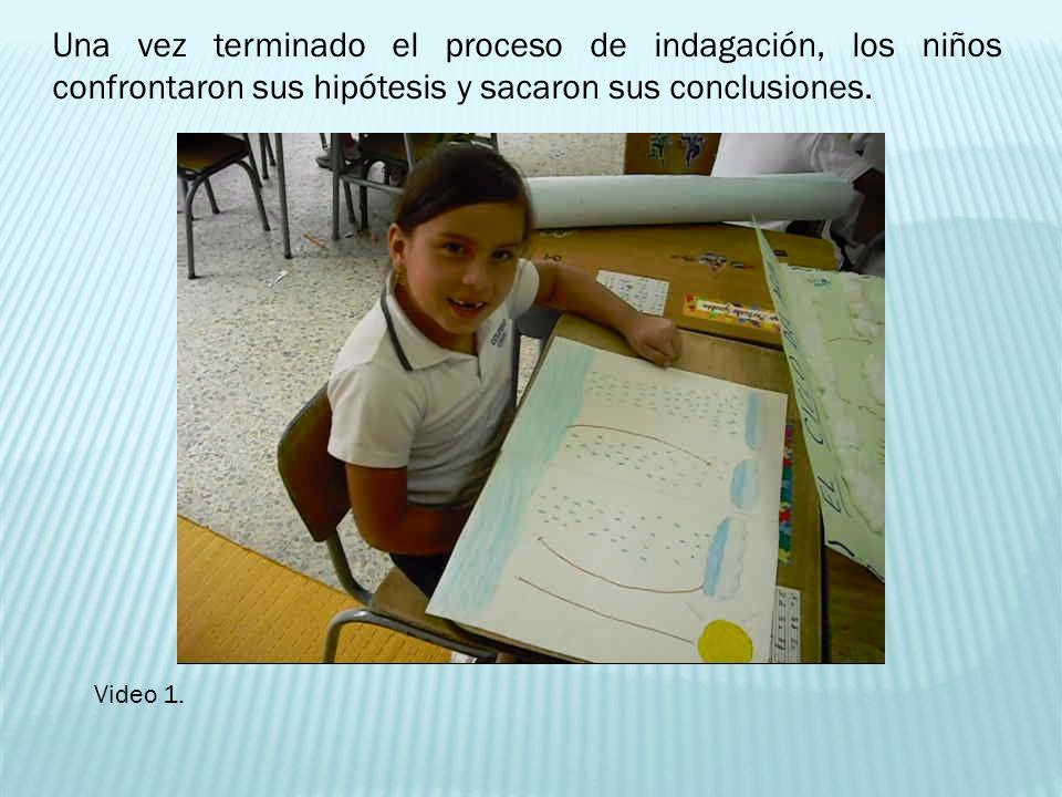 Una vez terminado el proceso de indagación, los niños confrontaron sus hipótesis y sacaron sus conclusiones.