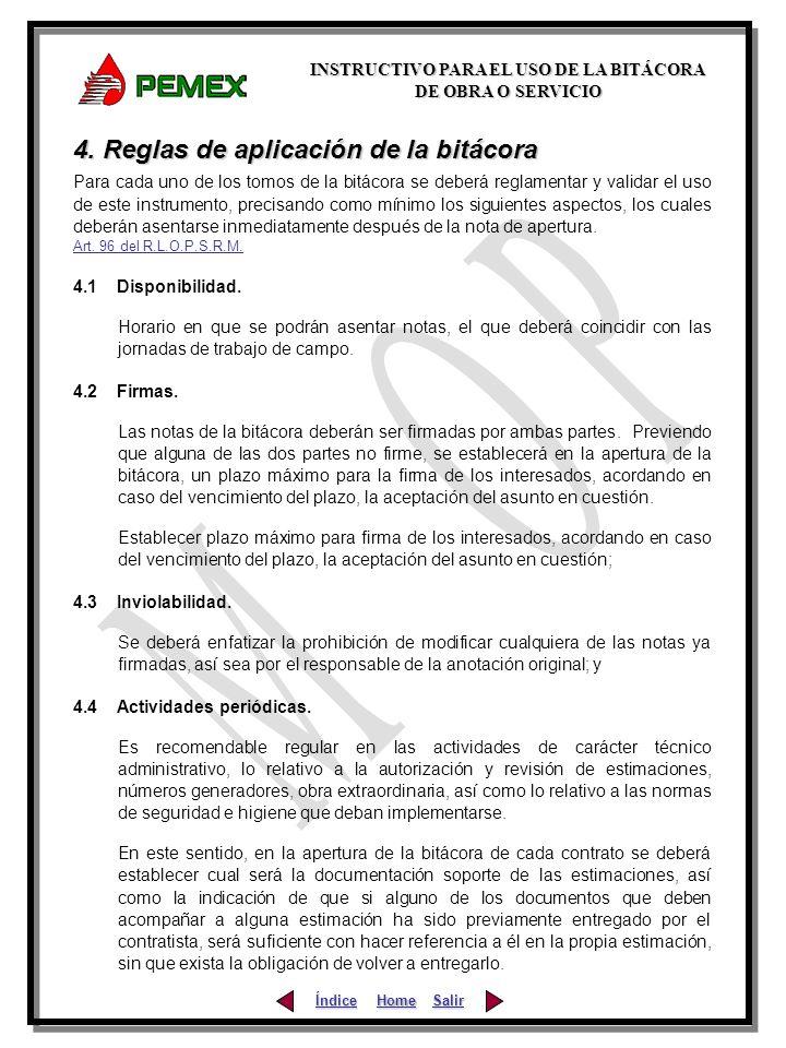 4. Reglas de aplicación de la bitácora