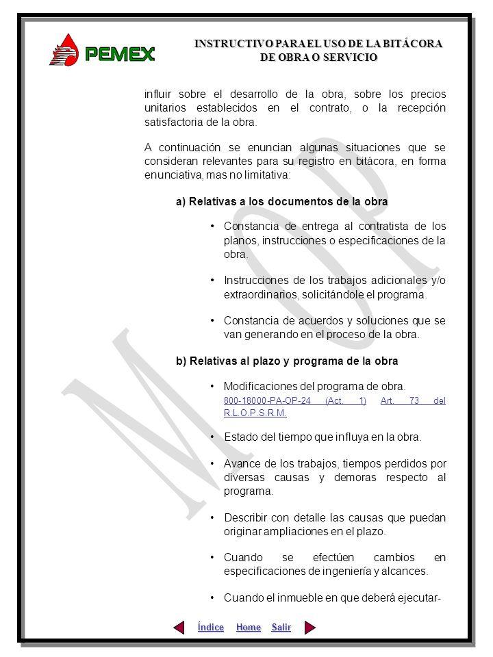 a) Relativas a los documentos de la obra