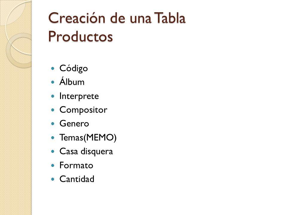 Creación de una Tabla Productos