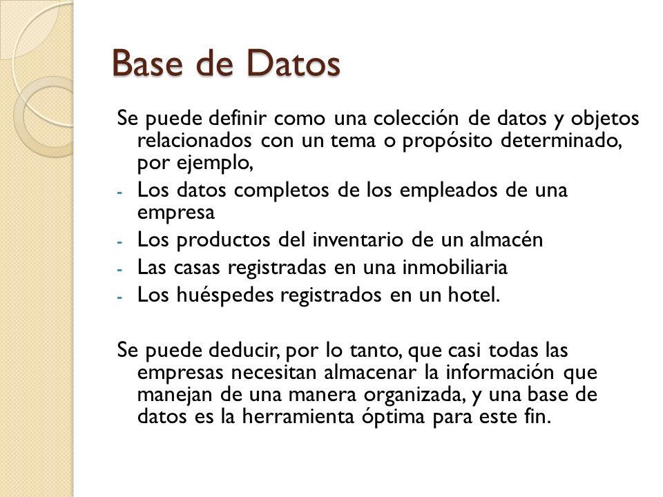 Base de Datos Se puede definir como una colección de datos y objetos relacionados con un tema o propósito determinado, por ejemplo,