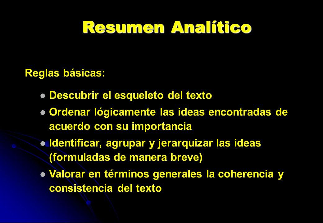 Resumen Analítico Reglas básicas: Descubrir el esqueleto del texto