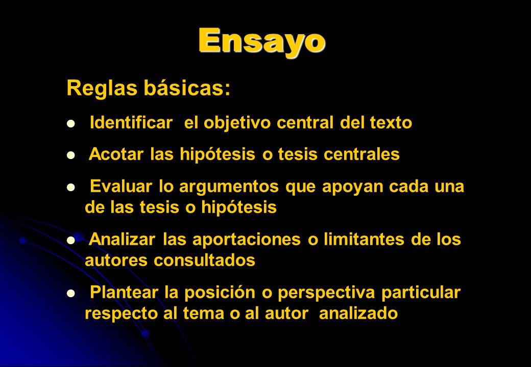 Ensayo Reglas básicas: Identificar el objetivo central del texto