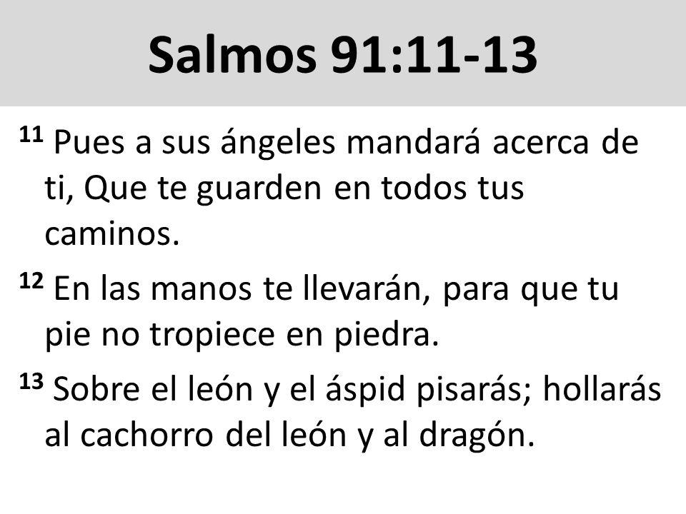 Salmos 91:11-1311 Pues a sus ángeles mandará acerca de ti, Que te guarden en todos tus caminos.