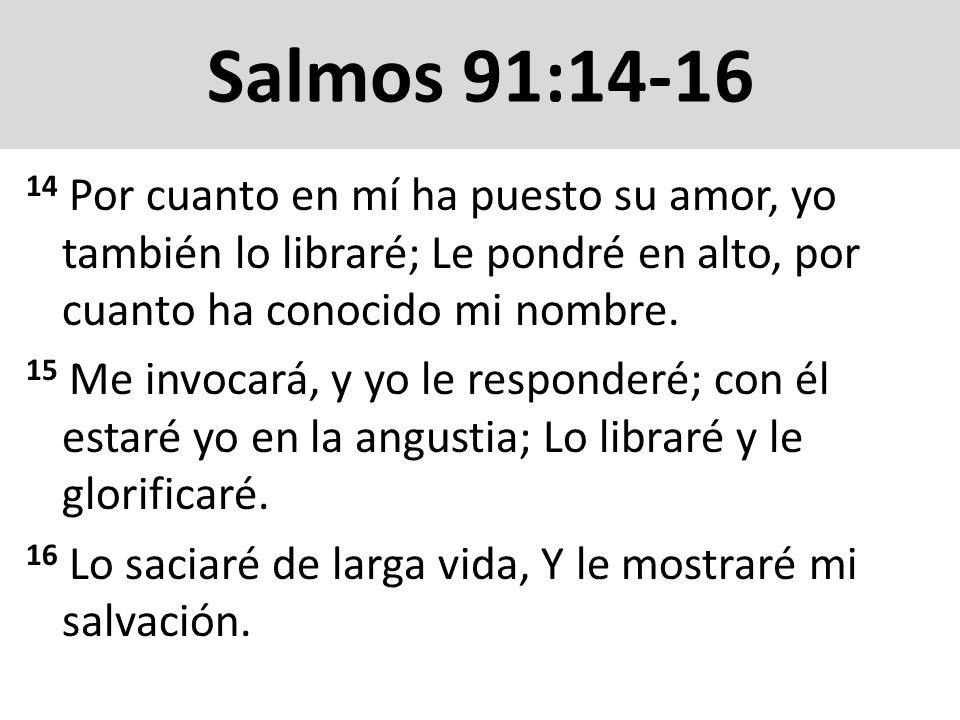 Salmos 91:14-1614 Por cuanto en mí ha puesto su amor, yo también lo libraré; Le pondré en alto, por cuanto ha conocido mi nombre.