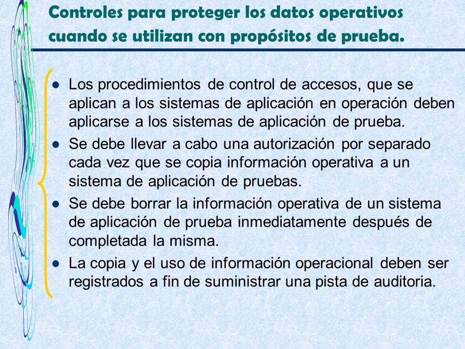 Controles para proteger los datos operativos cuando se utilizan con propósitos de prueba.