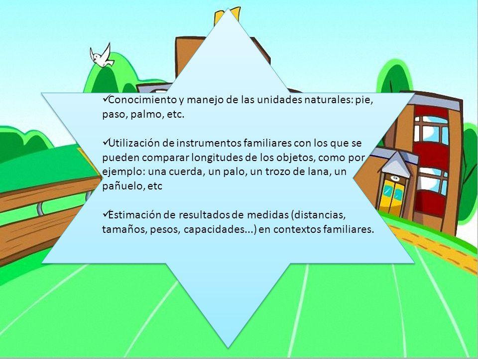Conocimiento y manejo de las unidades naturales: pie, paso, palmo, etc.