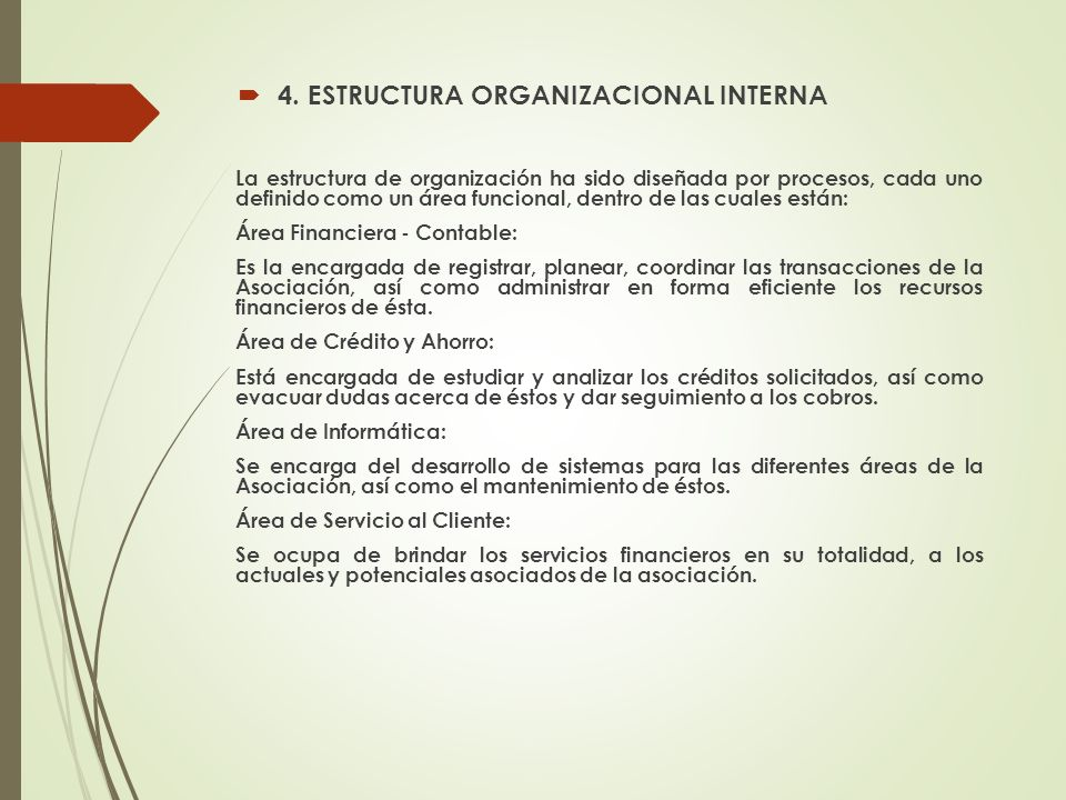 4. ESTRUCTURA ORGANIZACIONAL INTERNA