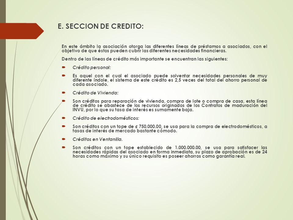 E. SECCION DE CREDITO:
