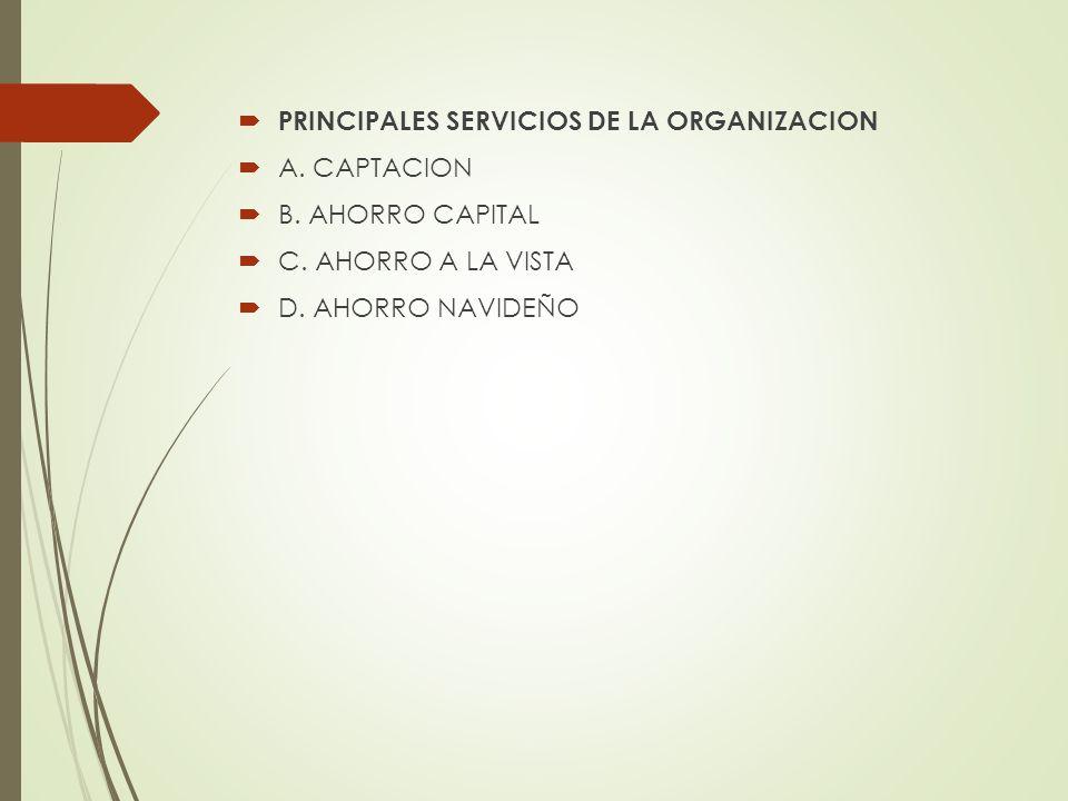 PRINCIPALES SERVICIOS DE LA ORGANIZACION