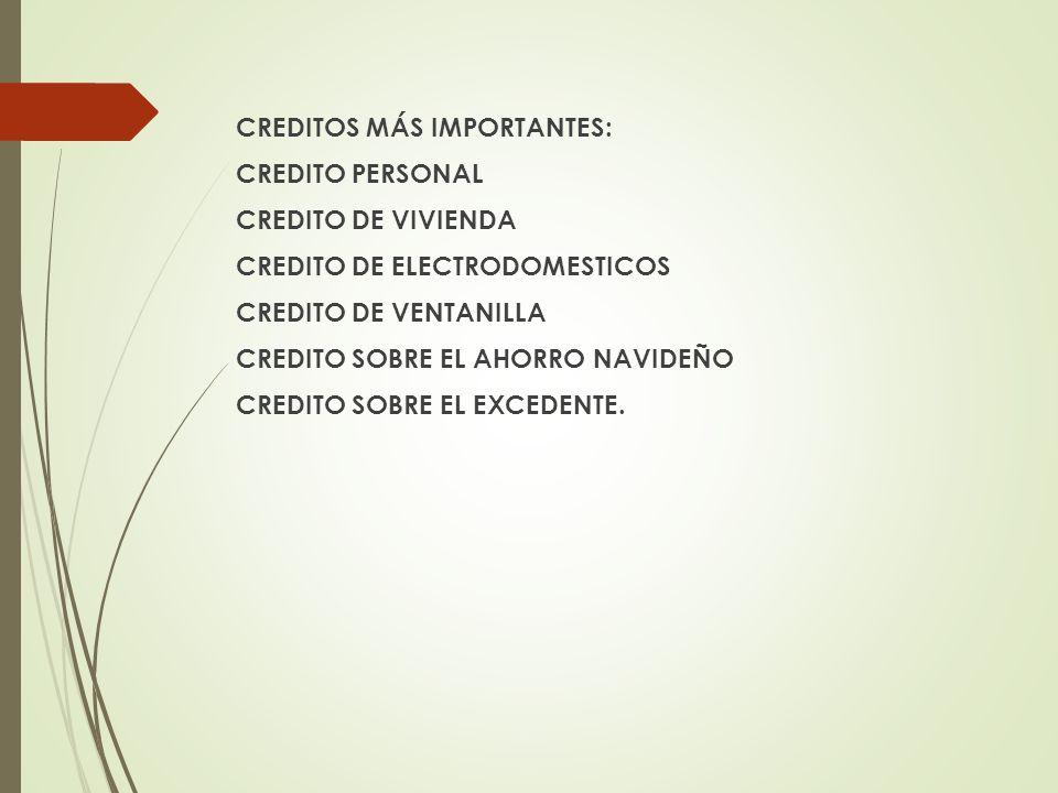 CREDITOS MÁS IMPORTANTES: CREDITO PERSONAL CREDITO DE VIVIENDA CREDITO DE ELECTRODOMESTICOS CREDITO DE VENTANILLA CREDITO SOBRE EL AHORRO NAVIDEÑO CREDITO SOBRE EL EXCEDENTE.