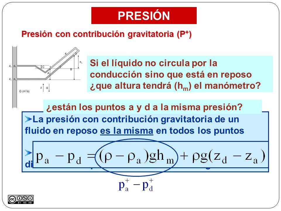Presión con contribución gravitatoria (P+)