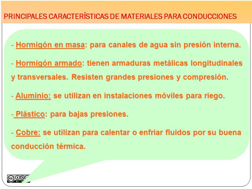 PRINCIPALES CARACTERÍSTICAS DE MATERIALES PARA CONDUCCIONES