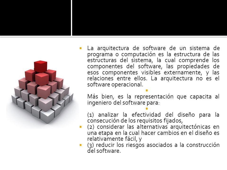 La arquitectura de software de un sistema de programa o computación es la estructura de las estructuras del sistema, la cual comprende los componentes del software, las propiedades de esos componentes visibles externamente, y las relaciones entre ellos. La arquitectura no es el software operacional.