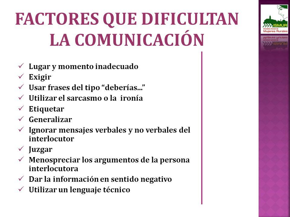 FACTORES QUE DIFICULTAN LA COMUNICACIÓN