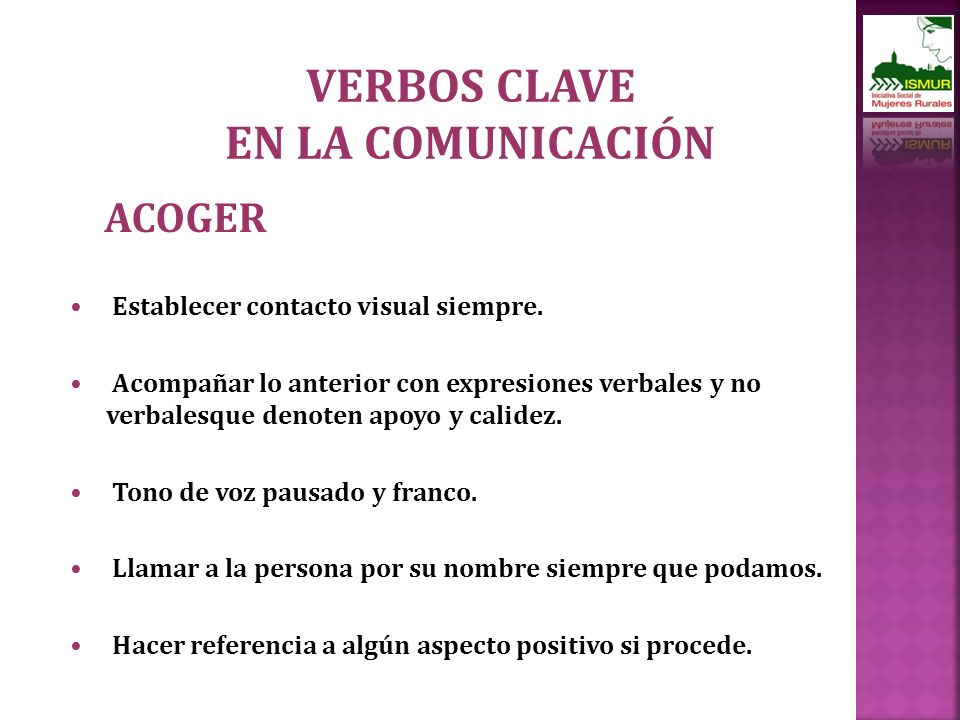 VERBOS CLAVE EN LA COMUNICACIÓN