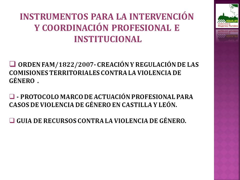 INSTRUMENTOS PARA LA INTERVENCIÓN Y COORDINACIÓN PROFESIONAL E