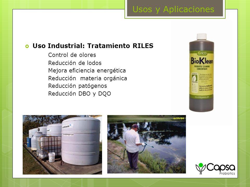 Usos y Aplicaciones Uso Industrial: Tratamiento RILES