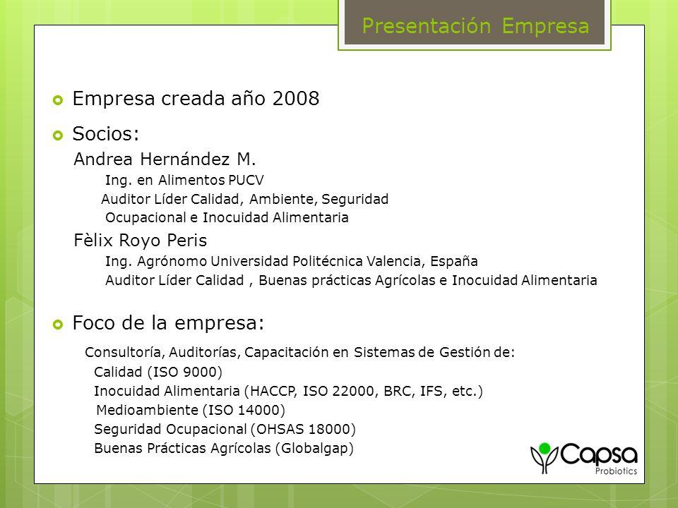 Presentación Empresa Empresa creada año 2008 Socios: