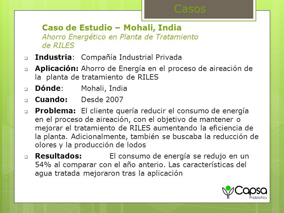 Casos Caso de Estudio – Mohali, India Ahorro Energético en Planta de Tratamiento de RILES. Industria: Compañía Industrial Privada.