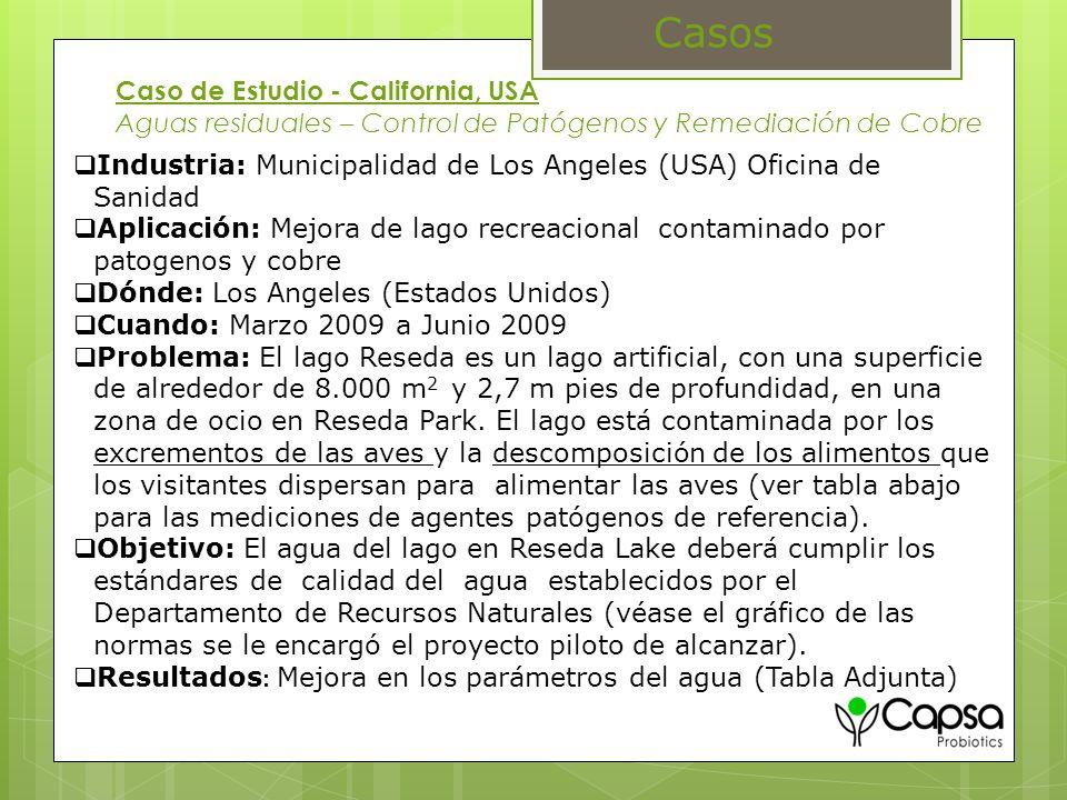 Casos Caso de Estudio - California, USA Aguas residuales – Control de Patógenos y Remediación de Cobre.