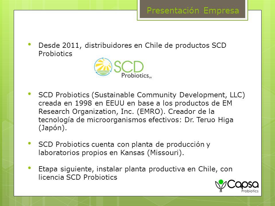 Presentación Empresa Desde 2011, distribuidores en Chile de productos SCD Probiotics.